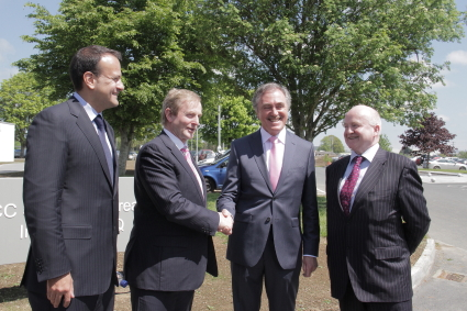 Minister Leo Varadkar, Taoiseach Enda Kenny, Sean Benton, Chairman of the National Sports Campus Development Authority (NSCDA) and Barry O'Brien, CEO of the NSCDA