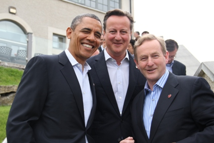Taoiseach Enda Kenny, Prime Minister David Cameron and President Barack Obama stop for a picture at the G8 Summit in Enniskillen