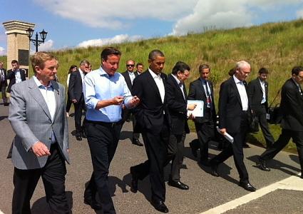 Taoiseach Enda Kenny, Prime Minister David Cameron, President Barack Obama, EU Commission President José Manuel Barroso and EU Council President Herman Van Rompuy