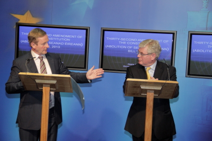 Taoiseach Enda Kenny and Tánaiste Eamon Gilmore at the press conference today