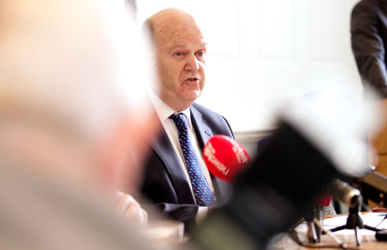 Finance Minister Michael Noonan taking questions at this mornings press conference on the NAMA (Section 227) Review
