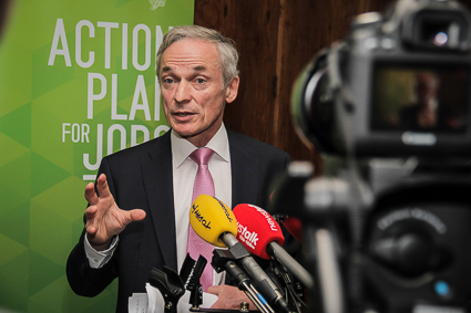 Minister Bruton speaks to the media