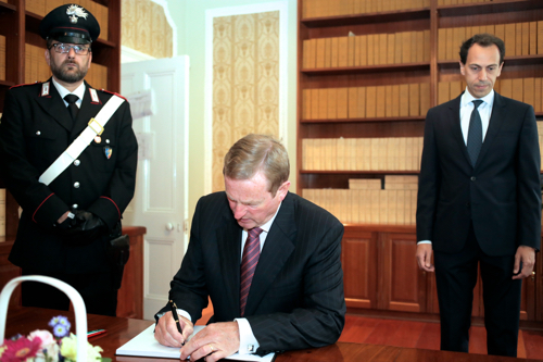 Taoiseach signs Book of Condolences at Italian Embassy