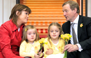 Taoiseach Enda Kenny shows his support for 30th Daffodil Day