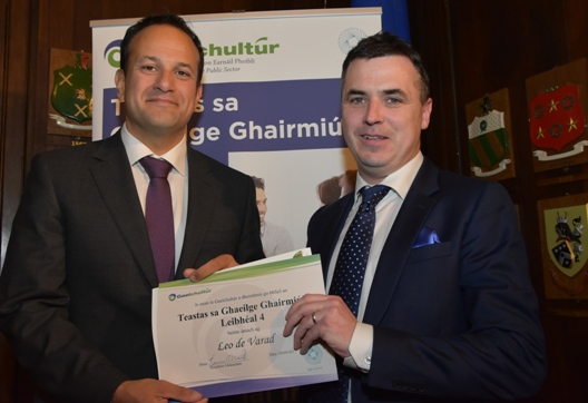 Taoiseach Leo Varadkar presented with the Certificate in Professional Irish